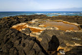 In spain lanzarote rock stone sky cloud beach — Stockfoto