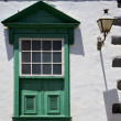 Street lamp lanzarote abstract  window   green in the w — Stock Photo