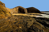 Spain landscape rock ky cloud beach lanzarote isle — Foto de Stock