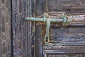 Door abstract spain a green closed wood lanzarote — Stock Photo