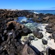 Sky light  beach water  in lanzarote  isle foam rock spain lands — ストック写真