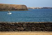 Costa lanzarote en agua de estanque de almizcle de España — Foto de Stock