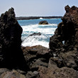 Rock spain   beach water  in lanzarote  isle foam  landscape  st — ストック写真