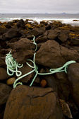 Rope sky cloudy beach light water in lanzarote — Stock Photo