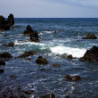 Rock spain  sky light  beach water  in lanzarote foam  landscap — ストック写真