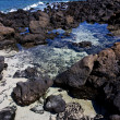 Sky light  beach water  in lanzarote  isle foam rock spain — ストック写真