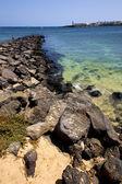 Muelle aldea agua barco yate Costa y verano lanzarote — Foto de Stock