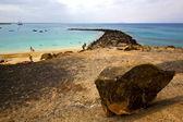 Surf yate muelle agua barco Costa y verano lanzarote spa — Foto de Stock