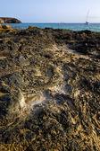 ランサローテ島スペイン ムスク池ビーチ水ヨット ボート海岸線 — ストック写真