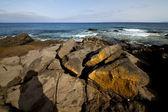 Spain musk rock stone sky coastline and summer lanzarote — Stock Photo