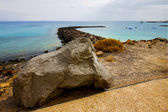 Surf yacht water boat coastline and summer lanzarote spain — Stock Photo