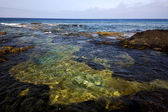 Spain water coastline in lanzarote sky cloud beach — Stock Photo