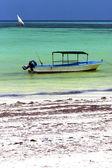 Engine costline boat pirague in the blue lagoon relax zanzibar — Stock Photo