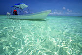Tent the blue lagoon relax and boat of sian kaan in mexico — Stock Photo