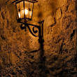 Street lamp a bulb in the wall fussen — Stock Photo