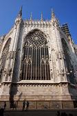 Spire italy church rose in milan and column — Stockfoto