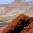 Volcanic timanfaya  red rock stone sky — Stock Photo
