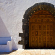 Brown closed church door spain canarias — Stock Photo #36830999