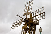 Hole windmills lanzarote africa spain the sky — Stock Photo