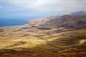 Lanzarote view house field coastline — Stock Photo