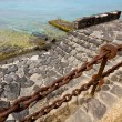 Pier rusty chain  water  in lanzarote spain — Stock Photo