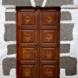 Stockfoto: Bras knocker in brown closed woo