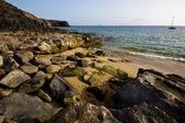 Coastline rock beach waand summer in lanzarote spain — Stock Photo