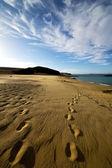 Footstep in lanzarote spain rock stone sky — Stock Photo