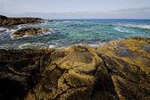 Spain s cloud coastline and summer in lanzarote — Stock Photo