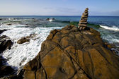 In lanzarote coastline froth spain pond r beach water musk — Stock Photo