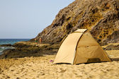 Tent coast lanzarote in spain yacht boat summer — Stockfoto