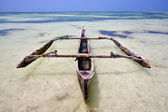 Relax of zanzibar africa coastline boat pirague in blue — Stock Photo