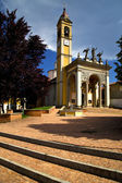 Church cairate varese italy old wall terrace tower plant — Stock Photo