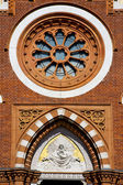 Rose window church abbiate varese italy the old wall terrace — Stock Photo