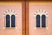 Abbiate varese rose window church  wall terrace church  tower — Stock Photo