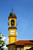 Church gorla minore  terrace church bell tower — Stock Photo
