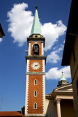 Church   olgiate olona  window  clock and bell tower — Stock Photo