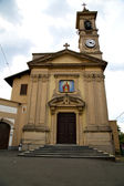 Church caiello italy the  window  clock and bell tower — Zdjęcie stockowe