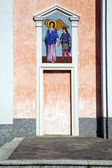 Mornago varese italy the old door entrance and mosaic — Foto Stock