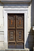 Old castronno abstract in  italy   and church door   — Foto Stock