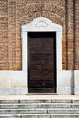 Samarate  varese italy the old door entrance and mosaic — Stock Photo