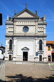 Varese  castronno  in italy      wall  church and column blue sk — Stock Photo