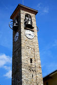 Besnate in  italy   the   wall  and church  bell sunny day — Stok fotoğraf