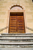 Tradate  italy   church    door entrance and mosaic — Stock Photo