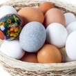 Eggs on the white background - Stock Photo