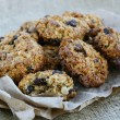 Stock Photo: Homemade oatmeal cookies on canvas background