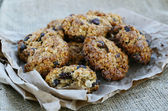 Homemade oatmeal cookies on canvas background — Stock Photo