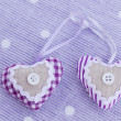 Decorative aroma hearts on lavender background — Stock Photo
