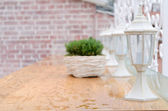 White garden lantern under the rain — Stock Photo