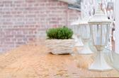 White garden lantern under the rain — Stock Photo